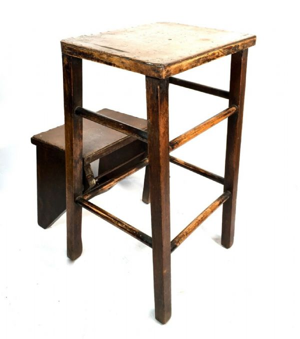 Antique Wooden Stool Seat / Metamorphic Style Steps / Country Kitchen Furniture